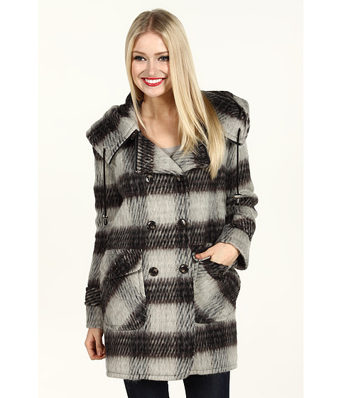 Jachete DKNY - Double Breasted Plaid Coat w/ Hood - Stone Multi