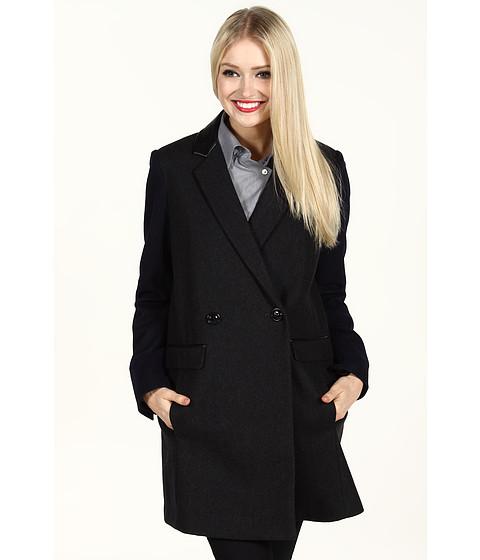 Jachete DKNY - Faux Leather Trim Wool Coat - Charcoal/Navy