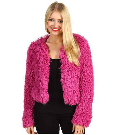 Jachete Betsey Johnson - Curly Q Jewel Neckline Jacket - Fuchsia