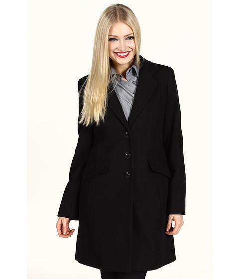 Jachete DKNY - Single Breasted Notched Lapel Coat - Black