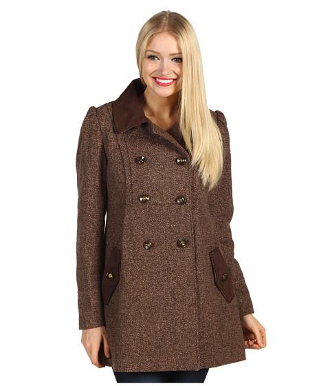 Jachete Jessica Simpson - Tweed Coat w/ Faux Suede Trim - Brown/Pink