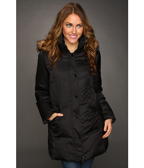 Jachete Hilary Radley Studio - Down Jacket w/ Faux Fur Trim Hood - Black