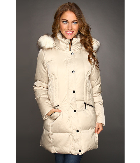 Jachete Hilary Radley Studio - Down Jacket w/ Faux Fur Trim Hood - Pearl