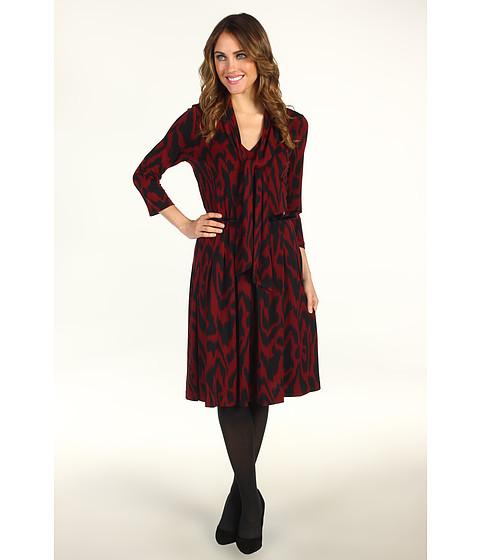 Rochii Anne Klein - Ikat Print Pleated Dress - Dark Bordeaux