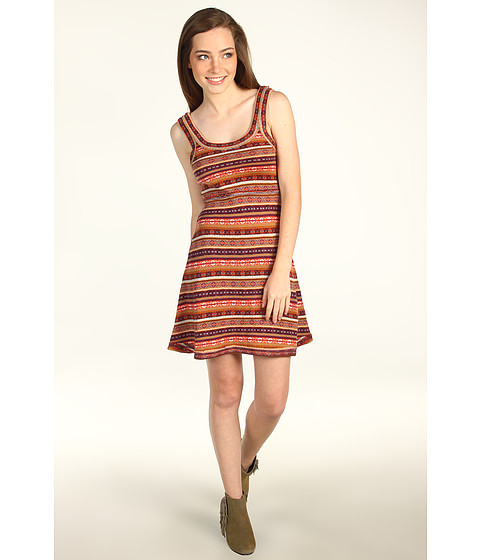 Rochii Free People - Fair Isle Fit and Flare Dress - Passion Fruit Combo