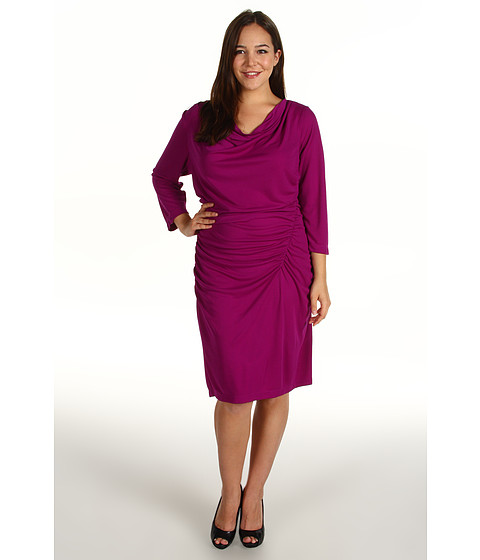 Rochii DKNY - Plus Size 3/4 Sleeve Cowlneck Side Ruched Dress - Orchid