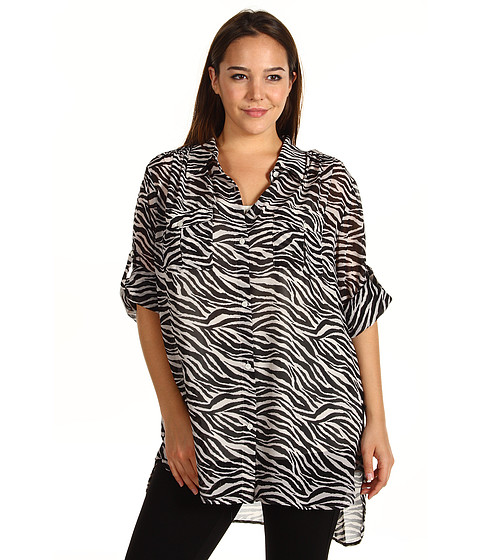 Tricouri DKNY - Plus Size L/S Zebra Print Button Thru Shirt - Black