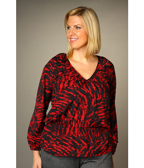 Bluze Michael Kors - Plus Size L/S Cinched Waist Top - Red Blaze