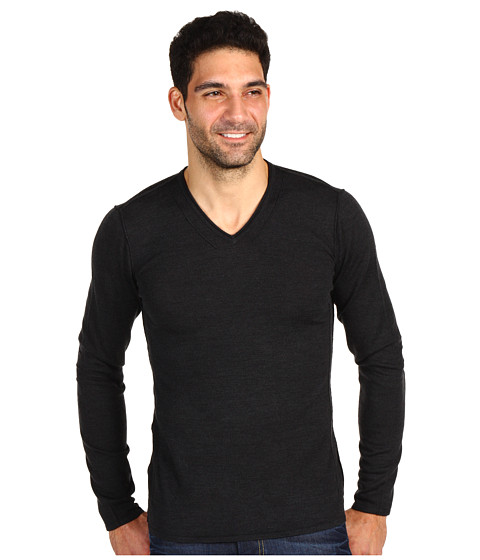 Bluze John Varvatos - Pintuck Detail V-Neck Sweater - Black