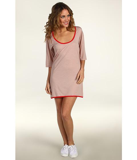 Rochii Lacoste - 3/4 Sleeve Lightweight Scoopneck T-Shirt Dress - Heather Foundation Pink