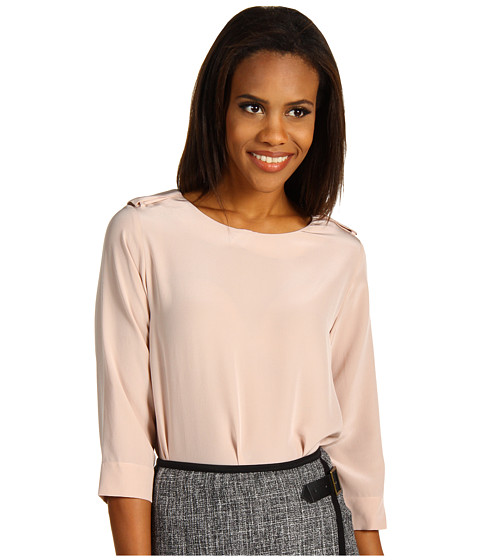 Bluze Lacoste - 3/4 Sleeve Silk Crepe Top - Foundation Pink