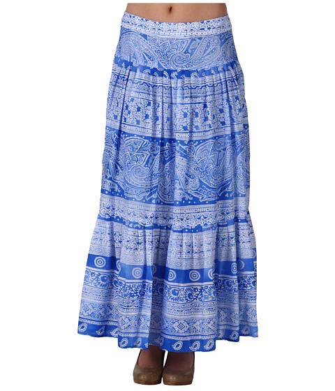 Fuste Jones New York - Petite Printed Border Cotton Lawn Maxi Skirt - Olympic Blue