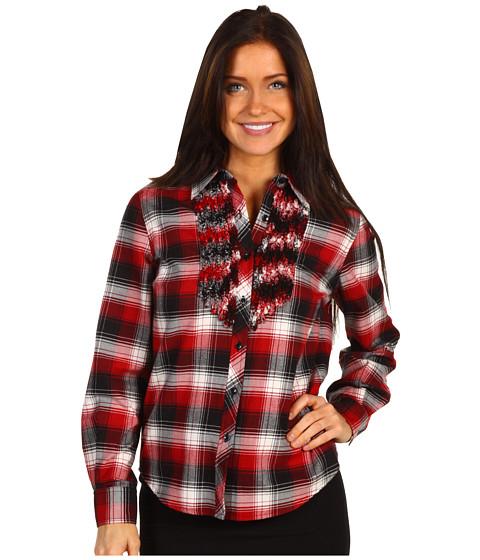 Tricouri Jones New York - Petite Plaid Ruffle Front Shirt - Multi