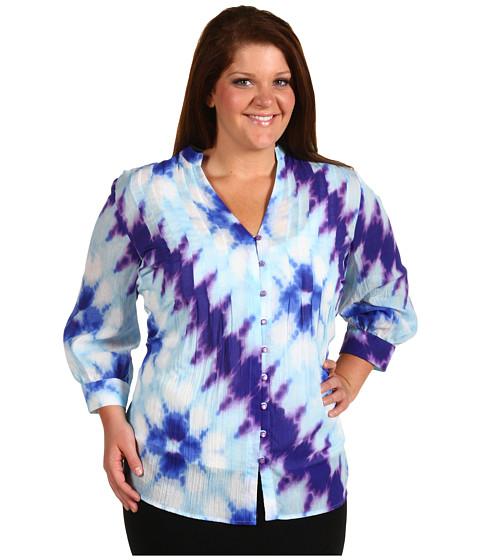 Tricouri Jones New York - Plus Size 3/4 Sleeve Pleated Tunic Blouse - Tropic Blue