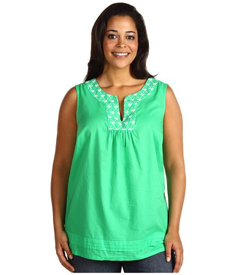 Tricouri Jones New York - Plus Size Sleeveless Tunic w/ Embroidery - Island Green