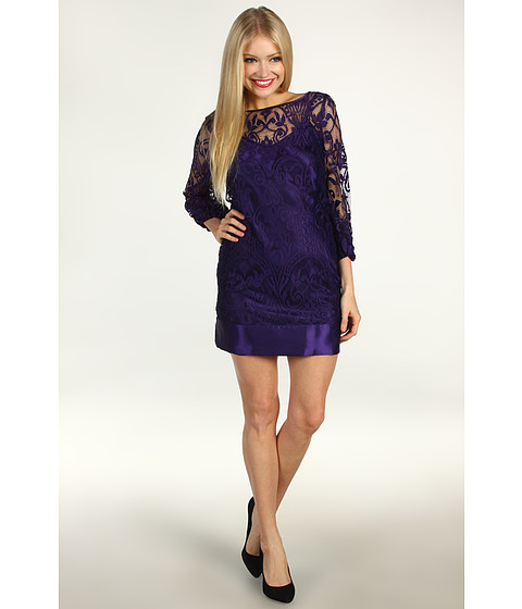 Rochii Laundry by Shelli Segal - Baroque Placement Lace Dress - Grape