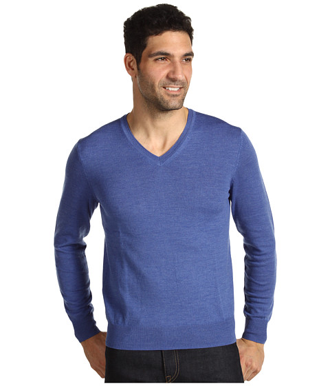 Tricouri Calvin Klein - Tipped Merino V-Neck - Blue Dusk Heather