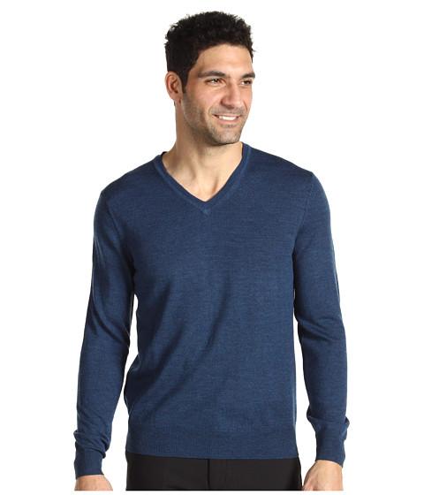 Tricouri Calvin Klein - Tipped Merino V-Neck - Teal Blue Heather