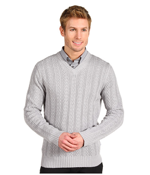 Tricouri Calvin Klein - V-Neck Staghorn Cable Sweater - Shaker Grey