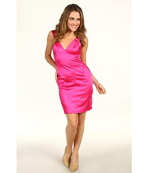 Rochii Vera Wang - Stretch Satin Cap Sleeve Dress - Hot Pink