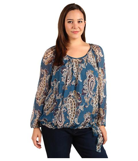Bluze Lucky Brand - Plus Size Bianca Chiffon Paisley Top - Exotic Blue Multi