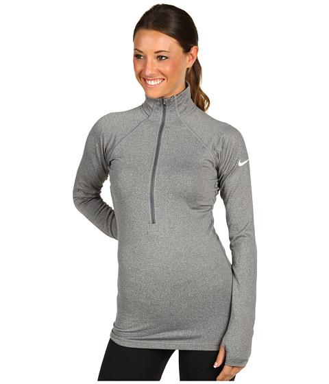 Tricouri Nike - Nike Pro Hyperwarm II Fitted Half-Zip - Carbon Heather/White