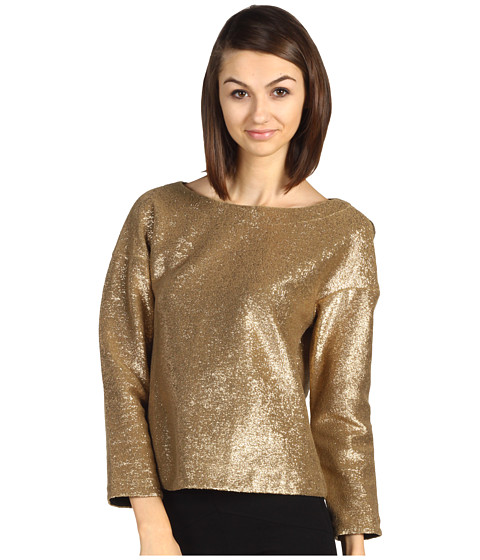 Bluze Tibi - Paillette Jersey Drop Shoulder Easy Top - Gold Metallic