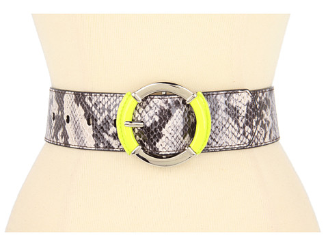 "Curele Jessica Simpson - 2"" Natural Snake Panel With Patent Wrapped Buckle - Neon Green"