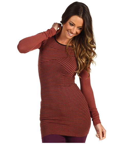 Bluze Free People - Seamless Stripe Sweater Rib Tunic - Red Sand Combo
