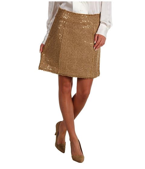 Fuste MICHAEL Michael Kors - Sequin Eyelash Boucle Fray Detail Mini Skirt - Dark Camel
