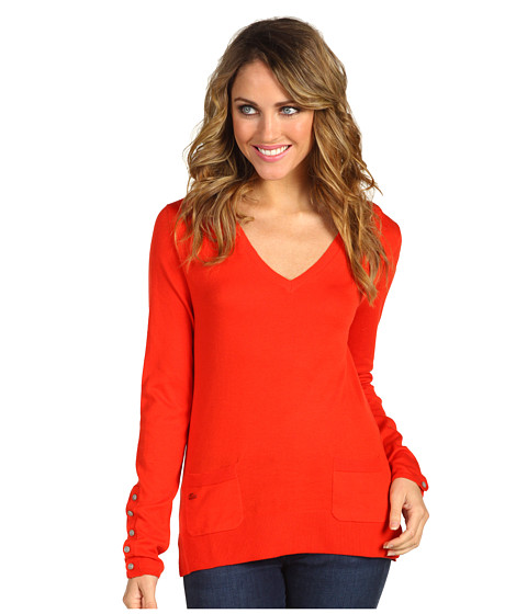 Bluze Lacoste - L/S Extra Fine Cotton V-Neck Sweater - Candy Apple Red
