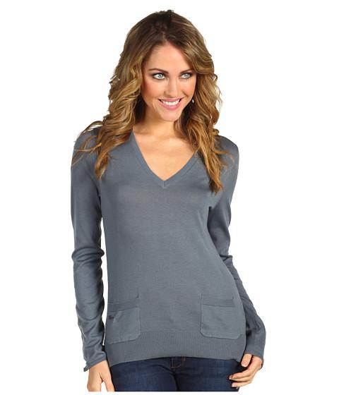 Bluze Lacoste - L/S Extra Fine Cotton V-Neck Sweater - Dusk Blue