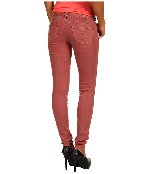 Blugi Free People - Colored Skinny Jean in Maroon - Maroon