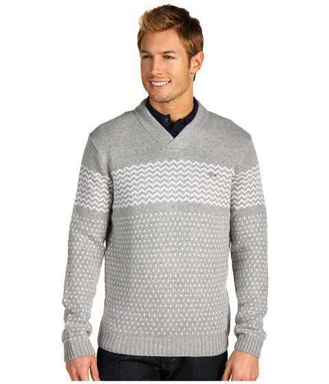 Pulovere Lacoste - Wool Blend Shawl Collar Pointelle Detail Sweater - Brume/Nacre