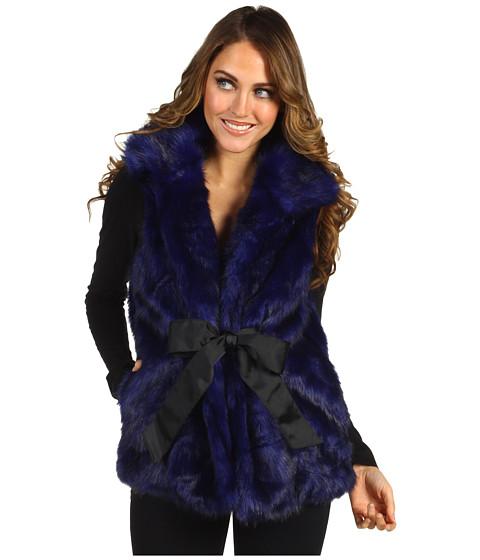 Geci Steve Madden - Glam Mink Fur Tie Front Vest - Royal