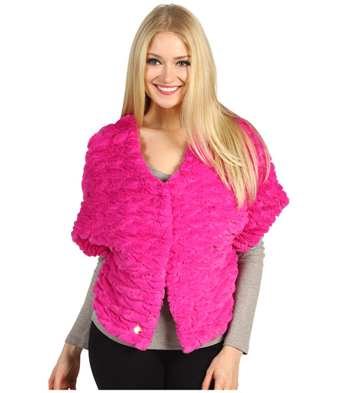 Jachete Betsey Johnson - Groovy Fur Snap Closure Caplet - Fuchsia