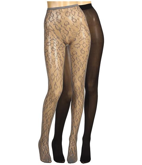 Lenjerie Betsey Johnson - 2 Pack Solid/ Leopard Fishnet - Black/Charcoal