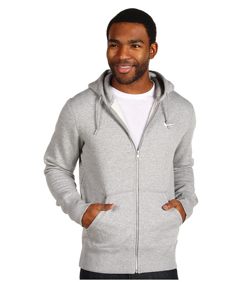 Bluze Nike - Classic Fleece Full-Zip Hoodie - Dark Grey Heather//Dark Grey Heather/White