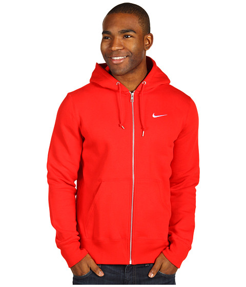 Bluze Nike - Classic Fleece Full-Zip Hoodie - University Red/Dark Grey Heather/White