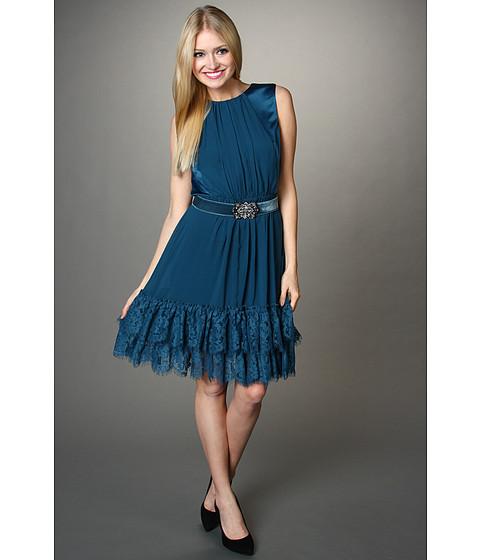 Rochii Jessica Simpson - Contrast Ruffle Hem S/L Dress - Dark Teal