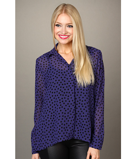 Bluze BCBGeneration - High-Low Hem Button Front Shirt - Royal Blue Combo
