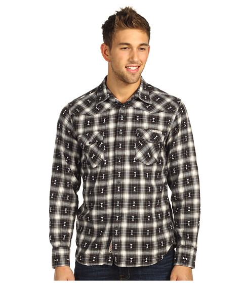 Bluze Lucky Brand - Kevler Plaid Classic Western Shirt - Black Combo