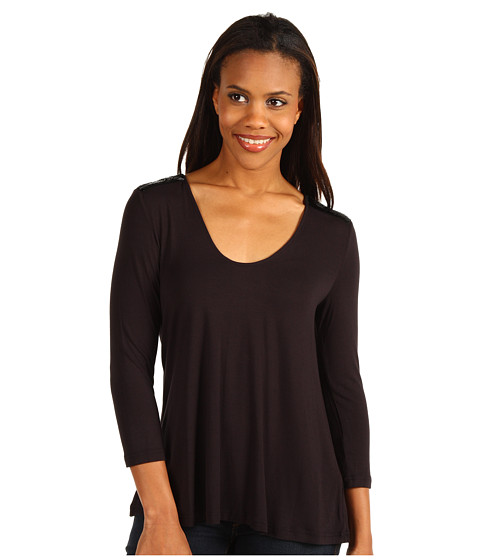 Bluze Kenneth Cole - H-Bone Beaded Knit Top - Black