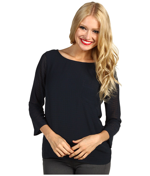 Bluze AG Adriano Goldschmied - Dot Texture Print Crossback Blouse - Petrol