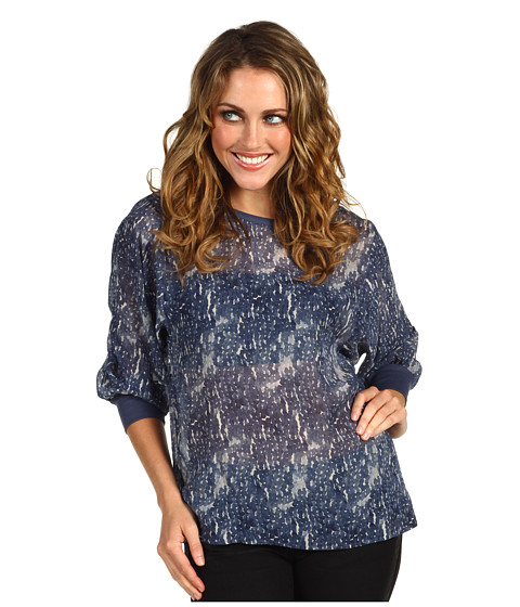 Bluze AG Adriano Goldschmied - Watercolor Paillette Peasant Sleeve Top - Navy