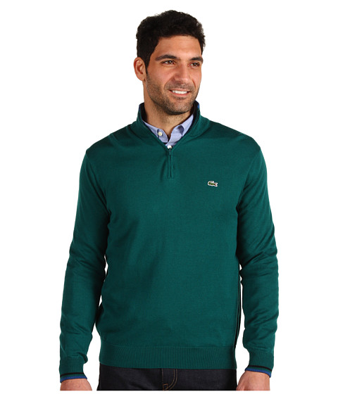 Bluze Lacoste - Half Zip Cotton Jersey Sweater - Ivy/Baltic/Black