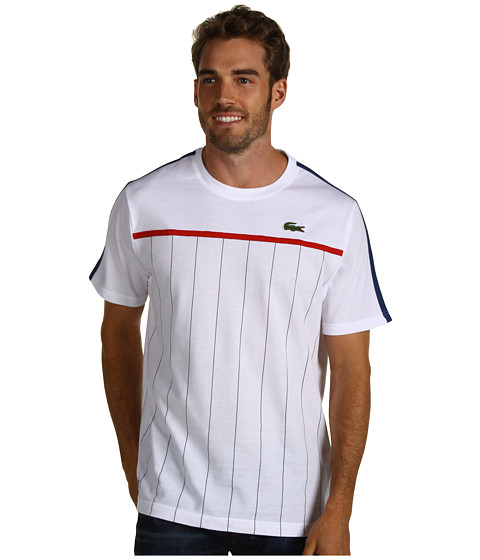Tricouri Lacoste - Andy Roddick Super Light Chest Stripe T-Shirt - White/Eclipse Blue/Tenebrous/Holly