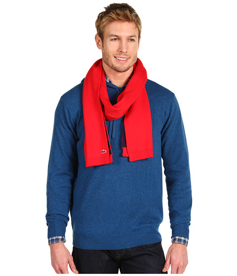 Fulare Lacoste - Men\\\'s Croc Cotton Wool Double Face Knit Scarf - Red/Navy Blue