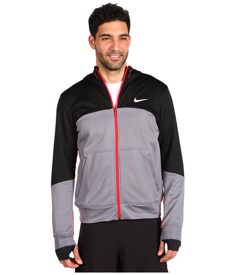 Bluze Nike - Nike XD Full Zip Hoodie - Charcoal/Black/University Red/White