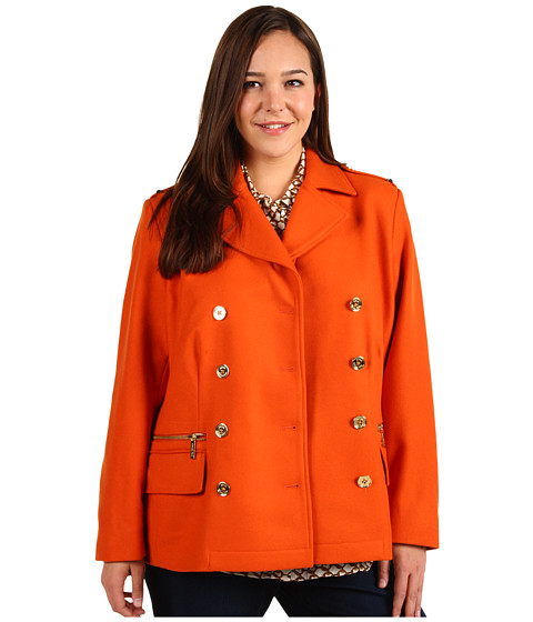 Jachete Michael Kors - Plus Size Melton Double Breasted Peacoat - Orange Spice